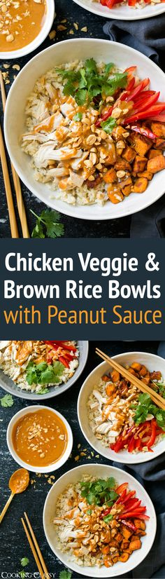 If there's a food out there that includes peanut sauce I already know I love it. So before I had even made these Chicken, Veggie and Brown Rice Bowls with