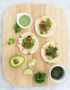 sweet potato tacos with coconut-cilantro sauce.
