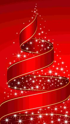 red ribbon Christmas tree iPhone 6 plus wallpaper - stars #2014 #Christmas #Tree…