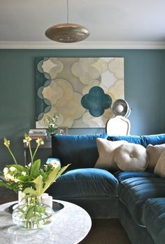 Living Room | Teal Velvet Sofa | Oval Saarinen Coffee Table - Carrera Marble Top | Walls: Farrow  Ball, Oval Room Blue | Lights: Zenza Filisky Copper Pendant | Painting: Quatrefoil 1 (2012), Phillip McCaskill | www.interiorsmatter.com