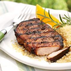 Orange and Rosemary Pork Chops - Orange juice, rosemary, Worcestershire-style marinade, olive oil, and molasses make a low-sodium marinade that keeps pork tender and flavorful.