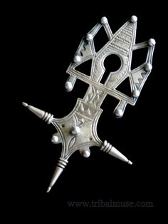 Old Tuareg Tribal Jewelry Silver Cross of Agadez. $185.00