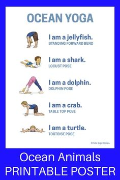 Ocean Yoga and Books by Giles Andreae (Printable Poster) - learn about ocean ani. Ocean Yoga and Books by Giles Andreae (Printable Poster) - learn about ocean animals through yoga poses for kids! Kids Yoga Poses, Yoga For Kids, Exercise For Kids, Preschool Yoga, Beach Theme Preschool, Toddler Yoga, Yoga Position, Yoga Nature, Animal Yoga