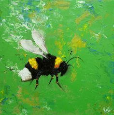 """Bee painting 247 12x12"""" original oil painting by"""