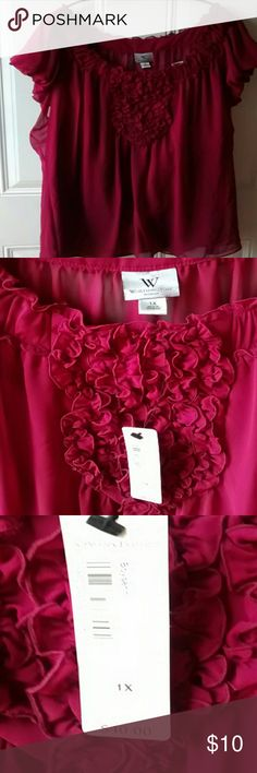 Burgundy blouse1x Pretty 2 piece ruffled blouse.Sheer cap sleeve with a matching Cami underneath. NWT Worthington Tops Blouses