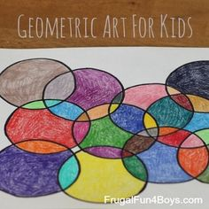 Use different shapes (different papers) Geometric Art for Kids - Love the look of this! Ideas for art projects with shapes, and the post also includes 3 printable coloring pages. Compass Art, Ecole Art, Math Art, Geometry Art, Shape Art, School Art Projects, Preschool Art, Art Classroom, Art Club