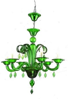 Antique glass chandeliers, Emerald Green