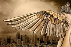 Los Angeles 'City of Angels' Graphic Art on Wrapped Canvas