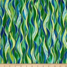 Kanvas Dance Of The Dragonfly Metallic Dancing Waves Emerald from @fabricdotcom  Designed by Maria Kalinowski for Kanvas in association with Benartex, this cotton print collection features metallic gold accents. Colors include shades of blue, shades of green, and metallic gold accents.