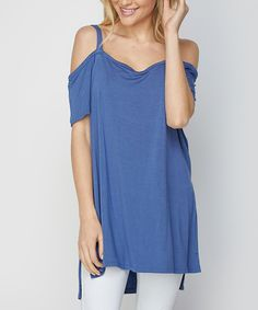 Take a look at this CY Fashion Blue Side-Slit Cold-Shoulder Top today!