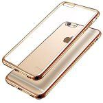 4.7 ONLY!!! iPhone 6 iPhone 6S case protective Apple cover crystal clear Soft Gel Plating TPU Case FS 0413 Phone Case (Gold)
