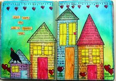 This was lots of fun to make. I used Dylusions inks and Koi water colours on the houses along with a little acrylic paints.