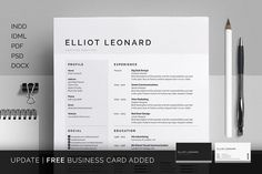 Resume/CV & Cover Letter Template - Now includes FREE Matching Business Card Design - Elliot by bilmaw creative on Creative Market Cv Cover Letter, Cover Letter Template, Cover Letters, Resume Tips, Resume Cv, Resume Format, Business Resume, Resume Layout, Business Infographics