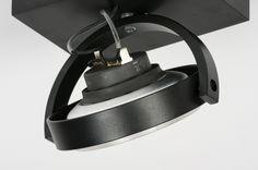 Plafondlamp 30539 modern design aluminium zwart mat rond vierkant