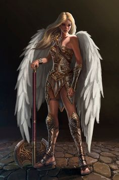 Dungeons And Dragons Fantasy Art Best Dragons Fantasy Warrior, Angel Warrior, Woman Warrior, Fantasy Art Women, Dark Fantasy Art, Fantasy Girl, Fantasy Art Angels, Fantasy Mermaids, Fantasy Character Design