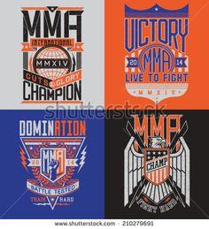 MMA t-shirt design emblem set  - stock vector