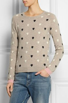 Chinti and Parker - Heart-intarsia cashmere sweater. Taupe, black, cream ...