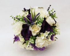 Brides Handtied Posy - Cream and Purple Anemone Silk Wedding Bouquets, Bridal Flowers, Floral Wreath, Wreaths, Cream, Purple, Beautiful, Brides, Flower Crowns