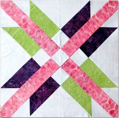 Eleanor Burns' Mexican Star block pattern, constructed with templates. Free PDF download. Maybe use Jelly Roll strips?
