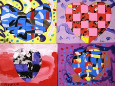 Kindergarten started by viewing and discussing Jim Dine's Four Hearts. 3rd Grade Art Lesson, Heart Graphics, Jim Dine, Heart Projects, Valentines Art, Art Lessons Elementary, Heart Art, Teaching Art, Art For Kids