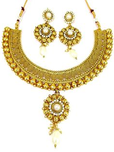 Magnificent gold plated brass metal #necklace with glittering diamantes. Item code: JPD86916 http://www.bharatplaza.com/new-arrivals/jewellery.html