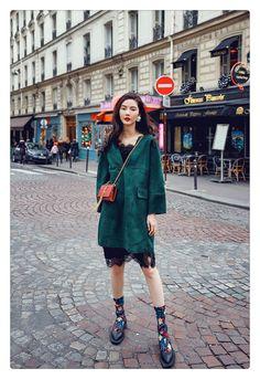 AUDREY WANG2016春季新款欧美风麂皮绒墨绿复古连衣裙    IN ASIAN STYLE