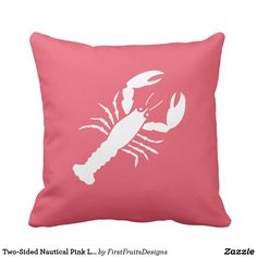 Two-Sided Nautical Pink Lobster Throw Pillow A sweet nautical lobster. Cute, yet simple, perfect for a beach house, or just to add a touch of the seaside to your everyday life. Two-sided! Check out the inverse reverse side.