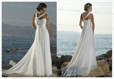 New Halter Straps Handmade Flower Chiffon Beach White Prom Dresses Ivory Long Evening Dress on Luulla
