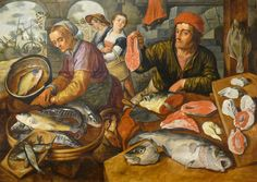 Beuckelaer Le Marché aux poissons. 1568. oil on panel. 119 × 165 cm (46.9 × 65 in). Strasbourg, Musée des Beaux-Arts de Strasbourg.