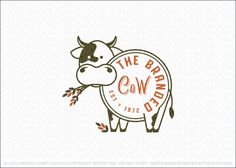 Logo Sold by LogoMood Melanie D: Modern and unique cow logo design featuring a line drawn cow design, with the body of the cow designed to look like the cow has been branded with the logo text. The company name fits nicely within the cow image to create a compact logo crest design.