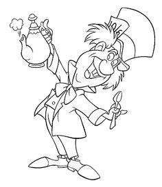 Alice in wonderland coloring pages mad hatter for kids, printable free