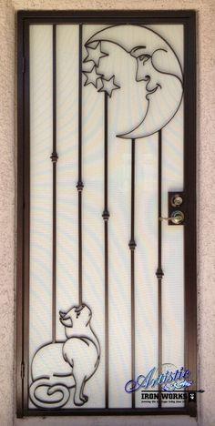 Cat and the Moon Custom Security Door -puertas bellas