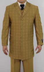 Men's 7 Button Zoot Suit Mustard Tonal Window Stitched Pattern Suit
