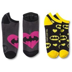 Batman Women's Logo Heart Ankle Socks 2-pack featuring polyvore fashion clothing intimates hosiery socks multi colored colorful socks multi color socks heart socks ankle socks short socks