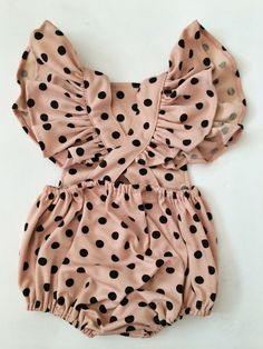 the elle sweet pink sunsuit in black polka dot / Sadie Then Ty