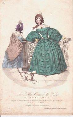 1830s French fashion print ~ 2 LADIES ~ bonnet shawl dog
