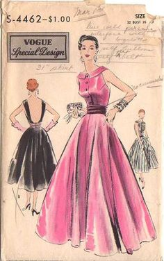 Vogue S-4462 - classic bodice front, surprise back detail Style Vintage, Vintage Fashion 1950s, Fashion Illustration Vintage, Retro Fashion, Vintage Patterns, Vogue Dress Patterns, Evening Dress Patterns, Clothing Patterns, Robes Vintage