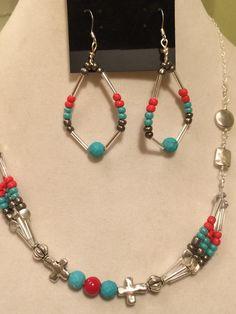Turquoise and Coral Beaded Hoop Earrings by PCMRNTREASURESJEWELS