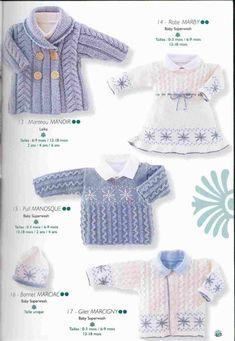 Album sous forme d& Clothing Patterns, Sewing Patterns, Crochet Magazine, Baby Knitting, Lana, Knit Crochet, Ruffle Blouse, Album, Stitch
