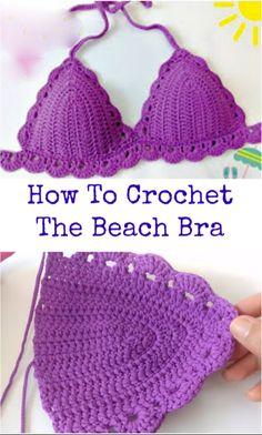 crochet Beach bra Sie Badebekleidung Ganchillo How To Crochet The Beach Bra Source by ideas diy Motif Bikini Crochet, Crochet Bra, Crochet Crop Top, Crochet Woman, Crochet Clothes, Crochet Stitches, Free Crochet, Crochet Patterns, Beach Crochet