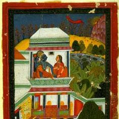 Baramasa series: The Eleventh Month. Ink, opaque watercolor, and gold on paper, Rajasthan, Bundi School, mid 18th century