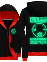 V for Vendetta hoodie plus size thick fleece luminous zipper sweatshirt