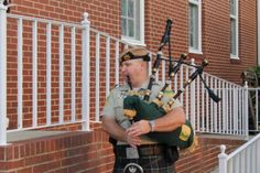 Playing bagpipes at the tornado memorial.