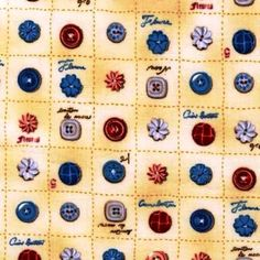 Cotton Fabric - Sewing Fabric - Vintage Couturier Buttons in Squares on Cream