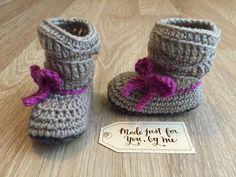 Crochet Baby Girl Mia Slouch Boot.  These baby slouch booties with an adorable bow are perfect for the stylish little girl in your life, as they