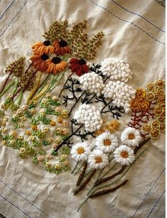 Wildflower embroidery - this is beautiful, now to figure out what stitches they used....