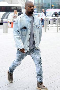 Kanye West wearing  Yeezy 750 Boost, Levi's Life of Pablo Denim Jacket