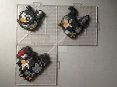 #396-#398 Starly Family Perlers by TehMorrison