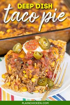 Deep Dish Taco Pie - the ultimate Mexican casserole! Taco meat, rice, corn, cheese, salsa, and eggs baked in pie crust. I mean, what's not to like?!? This makes a ton. It is perfect for a crowd. Can make the casserole in advance and refrigerate or freeze for later. We sometimes divide the recipe between two pans - bake one and freeze one for later. Top the casserole with your favorite taco toppings. Taco night never tasted so good! #taco #casserole #rice #Mexican #freezermeal Easy Casserole Recipes, Casserole Dishes, Taco Casserole, Chicken Casserole, Spaghetti Casserole, Baked Spaghetti, Chicken Spaghetti, Chicken Alfredo, Beef Recipes