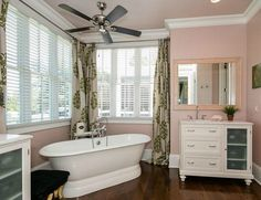 This North Carolina dream farmhouse was recently put on the market, and Julia from Hooked on Houses was quick to do some online sleuthing in order to . Cottage Style Bathrooms, Farmhouse Bathrooms, Dream Bathrooms, Beautiful Bathrooms, Modern Farmhouse Plans, White Farmhouse, Cottage Farmhouse, Farmhouse Style, Vintage Bathrooms
